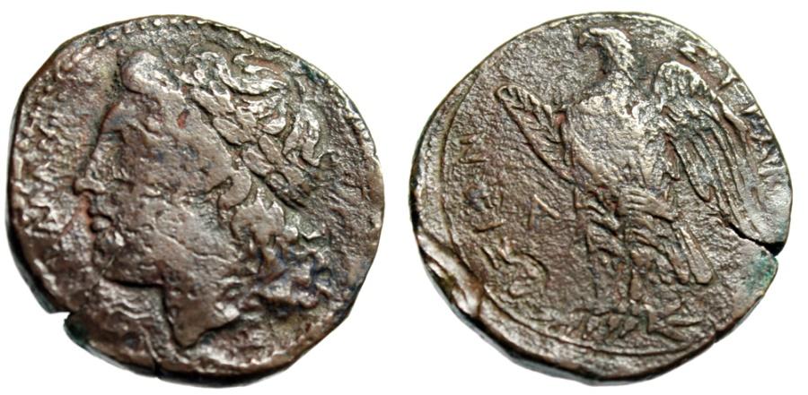 "Ancient Coins - Sicilian King of Syracuse: Hiketas ""Apollo Left & Eagle, A left"" Scarce"
