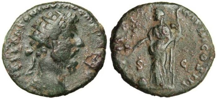 "Ancient Coins - Marcus Aurelius AE Dupondius ""Providentia"" Scarce Listed only as Sestertius"