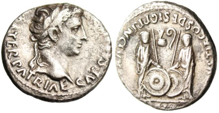 "Ancient Coins - Augustus Silver AR Denarius ""Caius & Lucius With Shields"" Rome RIC 208 VF"