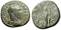 """Ancient Coins - Philip I AE Sestertius """"Salus Standing, Feeding Snake"""" Rome Mint RIC 187a gF"""