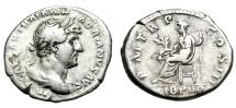 """Ancient Coins - Hadrian Silver Denarius """"LIB PVB Libertas Seated, Branch"""" RIC 127c Good Fine"""