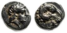 "Ancient Coins - Troas, Kebren AE9 ""Apollo Head & Ram Head, K"" Choice VF"
