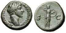 """Ancient Coins - Marcus Aurelius as Caesar AE Sestertius """"Minerva With Javelin"""" Rome 145 AD"""