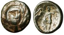 "Ancient Coins - Boeotia, Thebes AE18 ""Persephone Facing & Poseidon With Trident"" VF Scarce"