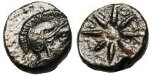 "Ancient Coins - Troas, Kolone AE10 ""Athena & Star, Ethnic in Rays"" Scarce VF"