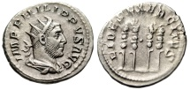 "Ancient Coins - Philip I Silver Antoninianus  ""FIDES EXERCITVS Four Standards Pellet"" Scarce nEF"