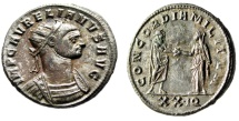 "Ancient Coins - Aurelian Silvered Antoninianus ""Clasping Hands With Severina"" Siscia RIC 244 EF"