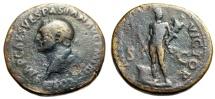 "Ancient Coins - Vespasian Sestertius ""MARS VICTOR Mars, Trophy, Altar"" Rome 71 AD RIC 178 Rare"