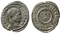 "Ancient Coins - Constantine II Caesar AE21 ""CAESARVM NOSTRORVM Wreath, VOT X"" Trier RIC 441 gVF"