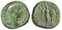 "Ancient Coins - Severus Alexander AE Sestertius ""Victory, VOT X Shield, Palm"" RIC 616 VF Green"