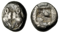 "Ancient Coins - Lesbos, Uncertain BI 1/6 Stater ""Confronted Boards, Two Pellets Incuse"" Rare"