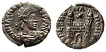 "Ancient Coins - Magnus Maximus AE4 ""SPES ROMANORVM Campgate, Star"" Arles RIC 29a EF Scarce"