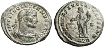 "Ancient Coins - Diocletian Silvered Follis ""Moneta Holding Scales"" Trier RIC 438a Rare About EF"