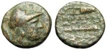 "Ancient Coins - Ionia, Herakleia ad Latmon AE17 ""Athena & Bow in Case, Club in Wreath"" BMC 6 Very Rare"