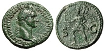 "Ancient Coins - Domitian AE As ""SC Mars Running, Trophy"" Rome 85 AD RIC 387 Scarce VF Green"