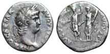 "Ancient Coins - Nero AR Denarius ""AVGVSTVS - AVGVSTA Emperor & Empress"" Rome RIC 45 Rare VF"