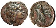 "Ancient Coins - Sicilian King: Hiketas II AE24 ""Zeus Hellanios & Eagle on Thunderbolt"" Near EF"