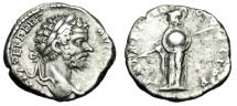 "Ancient Coins - Septimius Severus Silver Denarius ""Minerva, Shield & Spear"" RIC 71 Good VF"