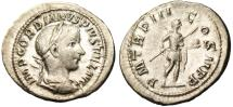 "Ancient Coins - Gordian III Silver AR Denarius ""Holding Spear & Globe"" RIC 115 Good VF"
