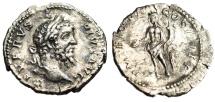 """Ancient Coins - Septimius Severus Silver Denarius """"Genius With Patera"""" Rome RIC 219 aEF"""