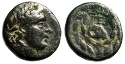 "Ancient Coins - Achaia, Pellene AE16 ""Apollo & Head of Ram Within Wreath"" Scarce Good Fine"
