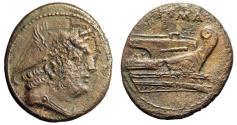 "Ancient Coins - Roman Republic Anonymous AE Semuncia ""Mercury & Prow of Galley"" VF"