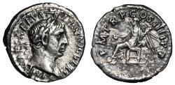 "Ancient Coins - Trajan AR Quinarius ""Victory Seated"" Rome RIC 68 Rare Near EF"