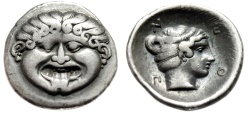 "Ancient Coins - Macedonia, Neapolis Silver Hemidrachm ""Facing Gorgoneion & Nymph"" Choice VF"