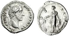 """Ancient Coins - Antoninus Pius Silver Denarius """"Annona, Corn, Modius, Prow"""" Rome RIC 204 Near EF"""