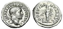 "Ancient Coins - Severus Alexander Silver Denarius ""Providentia, Globe"" Rome 232 AD RIC 250 nEF"