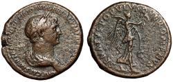 "Ancient Coins - Trajan AE As ""SENATVS POPVLVSQVE ROMANVS Victory, Palm"" Rome RIC 675 VF"