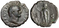 "Ancient Coins - Domitian as Caesar AE As ""Spes Walking, Flower"" Under Vespasian 75-76 AD"