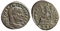 """Ancient Coins - Maximian AE Follis """"FIDES MILITVM Fides Seated"""" Aquileia RIC 59b Rare VF"""