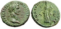 "Ancient Coins - Nerva AE As ""FORTVNA AVGVST Fortuna"" Rome 97 AD RIC 83 About EF"