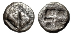 "Ancient Coins - Lesbos, Uncertain Silver 1/36 Stater (0.31g) ""Boar's Heads Confronted"" Rare"