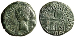 "Ancient Coins - Tiberius AE20 ""Aquila Between Standards, C C A"" Spain Caesaraugusta Rare"