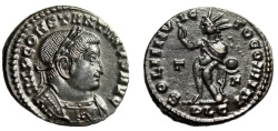 "Ancient Coins - Constantine I The Great AE Follis ""SOLI INVICTO COMITI Sol, T-F"" Lyons RIC 20 EF"