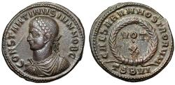 """Ancient Coins - Constantine II Caesar AE19 """"VOT X Wreath"""" Thessalonica RIC 128 Extremely Fine"""