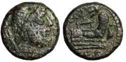 "Ancient Coins - Lucania, Paestum (Poseidonia) AE Semis ""Poseidon & Prow, Dolphins"" Scarce"