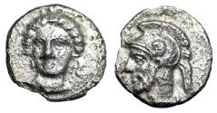 "Ancient Coins - Cilicia, Tarsos (Tarsus) AR Obol ""Facing Arethusa & Helmeted Warrior Ares"" aEF"