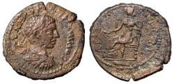 """Ancient Coins - Elagabalus AE24 of Amphipolis in Macedonia """"Tyche Seated, Patera"""" Scarce VF"""