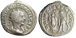 "Ancient Coins - Valerian II Caesar AR Antoninianus ""PRINC IVVENTVTIS Crowning Trophy"" Samosata"