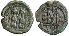 "Ancient Coins - Justin II AE Follis ""Seated With Sophia"" Constantinople RY 7 Good VF"