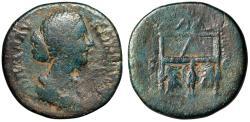 """Ancient Coins - Faustina II Junior (Wife Marcus Aurelius) AE Sestertius """"Throne, Peacock"""" Rare"""