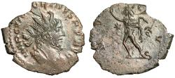 "Ancient Coins - Victorinus AE Antoninianus ""INIVCTVS Sol Walking, Star"" 269-271 AD About EF"