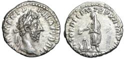 "Ancient Coins - Commodus AR Denarius ""Emperor Sacrificing at Altar"" 196-187 AD RIC 161 gVF"