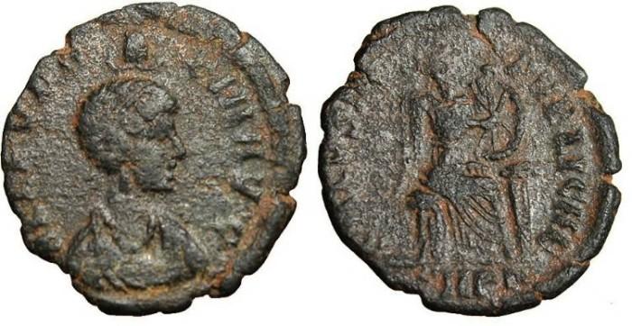 """Ancient Coins - Aelia Eudoxia , AE3 """"Victory  Inscribing Shield"""" Cyzicus RIC 103 Scarce"""