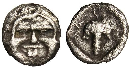 """Ancient Coins - Thrace, Maroneia AR Hemiobol """"Gorgoneion Facing & Grape Cluster"""" Rare"""
