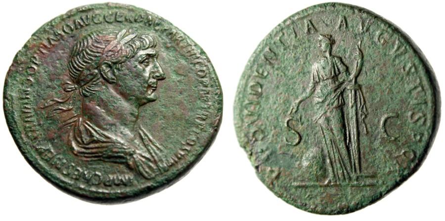 "Ancient Coins - Trajan AE Sestertius ""Providentia"" Longest Legends on Roman Coin RIC 663 gVF"