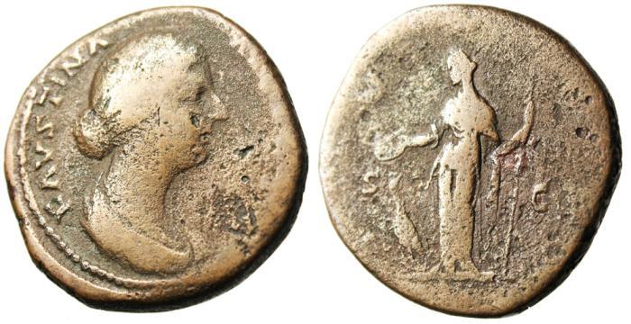 "Ancient Coins - Faustina II AE Sestertius ""Juno, Peacock at Feet"" Rome RIC 1651"